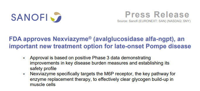 FDA approves new treatment option for late-onset Pompe disease